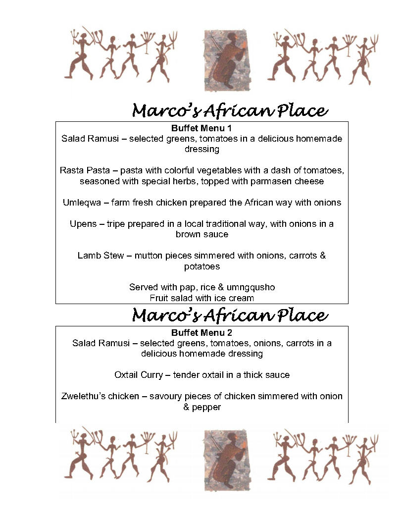 Menus - Marco\'s African Place